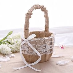 Rustic Wedding Hessian Burlap Lace Flower Girl Basket Party Favors by partypapersupply on Etsy https://www.etsy.com/listing/246656705/rustic-wedding-hessian-burlap-lace