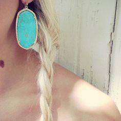 Kendra Scott Danielle Turquoise/Gold Earrings Kendra Scott Danielle gold earrings in turquoise. Worn only twice! No box. Priced accordingly. Kendra Scott Jewelry Earrings