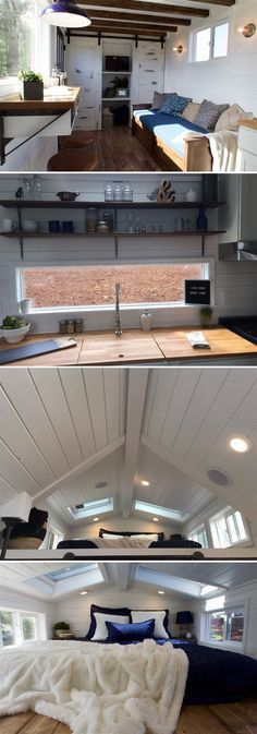 With two skylights over the bedroom loft, this 210-square-foot tiny home gives Texas couple, Matt and Kim, an amazing place to wake up each morning.