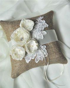 Ring Bearer pillow, burlap and roses: