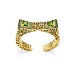 'naga singhasari' (13th century javanese kingdom) cuff - 18k gold, peridot, tsavorites + cognac diamonds 'the cinta collection' guy bedarida for john hardy f.w2102