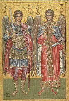 The Archangels Michael & Gabriel. In Symi Michael Gabriel, Saint Gabriel, St Michael, Religious Images, Religious Icons, Religious Art, All Archangels, Angel 444, Angel Protector