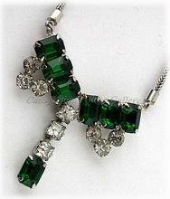 Stunning Emerald Green & Crystal Rhinestone Bow Necklace ~ Free Shipping