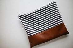 Leather and Stripes Clutch