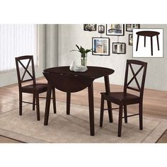 Compact dinette set for breakfast nook , eat-in kitchen or the corner of a small apartment living room to create an intimate spot for dining. The table's drop leaf lets you place it right against the wall with no loss of space.