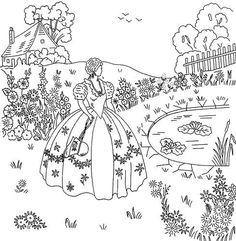 Crinoline Lady Pond & Cottage 16x15 embroidery transfer