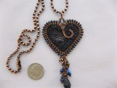 Copper ball chain hammered & wire wrapped black lace heart