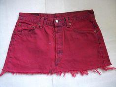 Levi Denim Skirt Size 12 Pink/Red Short Mini Skirt Grunge 501 Red Tab