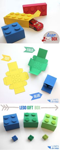 Lego gift box - with free templates from Lines Across www. - Lego gift box – with free templates from Lines Across www. Lego Gifts, Diy Gifts, Handmade Gifts, Diy Paper, Paper Crafting, Paper Art, Paper Clay, Origami Paper, Paper Gifts