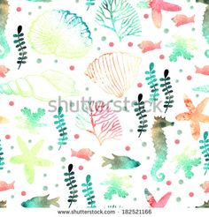 Pattern with watercolor marine motifs. Seamless pattern