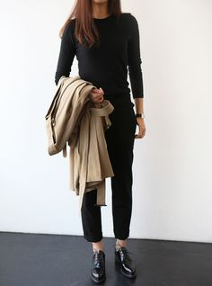 all black with beige trench coat