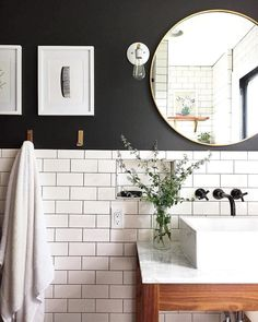 Love there white subway tile and black wall paint for a small bathroom Classic bathroom. Love there white subway tile and black wall paint for a small bathroom Black Painted Walls, Black Walls, Black Ceiling, White Walls, Bathroom Renos, Bathroom Renovations, Remodel Bathroom, Bathroom Mirrors, Bathroom Cabinets