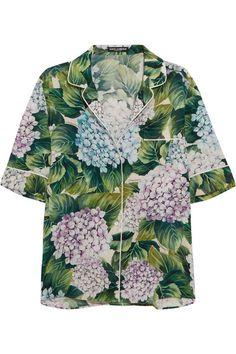 Dolce & Gabbana - Floral-print Silk-blend Charmeuse Shirt - Green - IT44