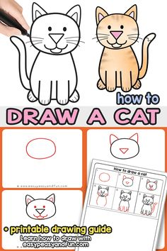 How to Draw a Cat - Step by Step Cat Drawing Instructions (Cute Cartoon Cat) - Easy Peasy and Fun Drawing Cartoon Characters, Character Drawing, Cartoon Drawings, Easy Drawings, Animal Drawings, Simple Cat Drawing, Drawing For Kids, Drawing Tips, Simple Drawings For Kids