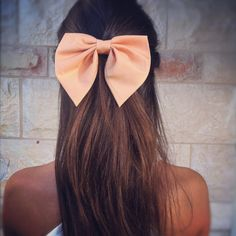 Unique peach Pink BIG hair bow by ColorDropBowtique on Etsy, $14.90