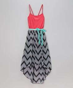 Take a look at the Black & Coral Chevron Hi-Low Dress - Girls on #zulily today!