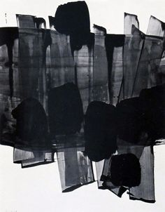 Pierre Soulages makes me think of transparent chiffon or organza strips with some sort of opaque, rough and solid form appliqued onto it