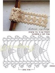 34 Trendy Ideas For Crochet Headband Diagram Ganchillo Crochet Belt, Crochet Lace Edging, Crochet Bracelet, Crochet Diagram, Crochet Chart, Crochet Trim, Irish Crochet, Crochet Edgings, Filet Crochet