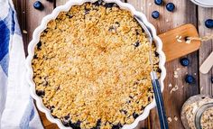 Buy homemade blueberry crumble with oatmeal by nblxer on PhotoDune. homemade blueberry crumble with oatmeal on wooden table Blueberry Crumble Pie, Pie Crumble, Low Calorie Snacks, Low Calorie Recipes, Gourmet Desserts, Gluten Free Desserts, Parfait, Just Pies, Blueberry Season