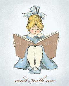 Children's Wall Art Print - Read With Me (Blue B) - 8x10 - Girl Kids Nursery Room Decor. $26.00, via Etsy.