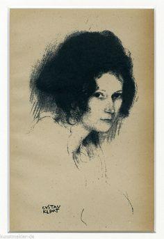 KLIMT Gustav 20er Jahre Litho 0299-pp: Brustbild im 3/4 Profil inkl.Passepartout