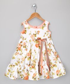 White & Peach Rose Tier Dress - Toddler & Girls | Daily deals for moms, babies and kids