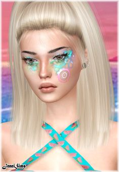 Gorgeous Cyber Girl Make-up from another of my FAV artists! Jennisims! VERY COOL! Imvu, Sims 4, Cyber, Swatch, Eyeshadow, Make Up, Beautiful, Movie, Artists