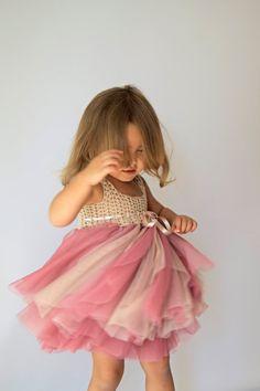 Warm Beige & Rose Tulle Dress with Empire Waist Crochet Top.