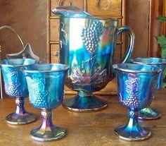 Vintage Blue Carnival Glass Harvest Pitcher and Goblets❤❤❤