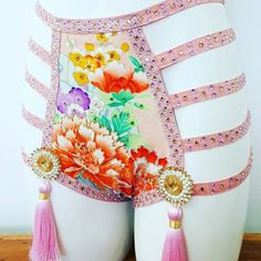 Delicate and dazzling pretty in pink vintage kimono silk cage panty and soft bra set for performance of photo shoots. Rare quality vintage kimono silk with large Peonies embroidered in gold metallic thread. Glitter mint mesh back and lined with nude cotton lycra. 100s of quality AAA