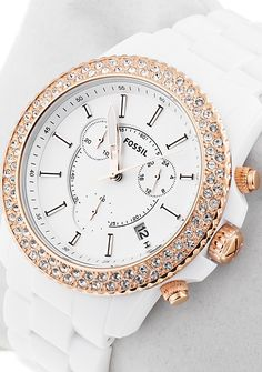 Fossil Ladies White and Rose Gold Chronograph Watch CH2716