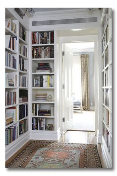 """Regarding built-in bookshelves near fire place. Note to Self: """"Bookshelves were meant for books."""" Thanks for the reminder. This week I'm going through all the boxes in the attic and make my bookshelves look purty! Don't I wish I had room to do this in my house!"""