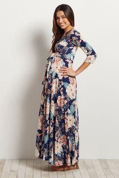 Navy-Blue-Floral-Sash-Tie-Maxi-Dress