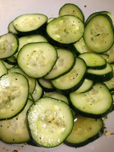 Cool Lemon Pepper Cucumbers: wash, slice cucumbers and toss in avocado oil. Squeeze the juice of one lemon and add lemon pepper. Toss and refrigerate for a few hours or over night. Great snack or side with meal!