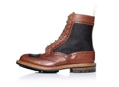 Conceived by Kurt Geiger and shoemaker Trickers, this two-tone brogue boot blurs the line between tough-guy motorcycle boot and upstanding-gentleman brogue
