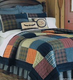 ~ Northern Plaid Quilt-love the colours for boys room - love navy and orange