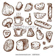 sketch food - stock vector