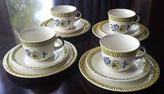 4 x Vintage Stavangerflint Norwegian Trios. (Cup, Saucer, Plate). Scandinavian