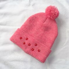 Pink double layered Hat  Icelandic Production by HuldaGK on Etsy