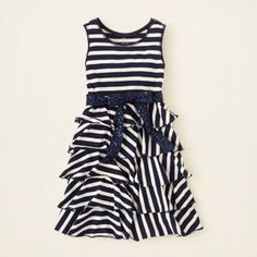 striped sequin ruffle dress Homecoming dresses for Summer & Casey : ) Tween Fashion, Little Girl Fashion, Fashion Outfits, Girls Dress Shoes, Girls Dresses, Little Girl Closet, Toddler Girl Style, Little Fashionista, Cute Outfits For Kids