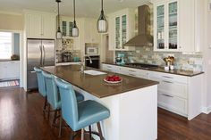 Ceilings, Trim and Cabinets - White Dove OC-17 Kitchen/Great Room - Edgecomb Gray HC-173 House of Turquoise: Vujovich Design Build