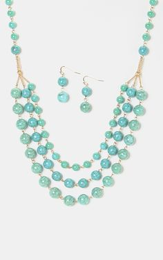 Turquoise & Gold Triple-Strand Bib Necklace & Earrings