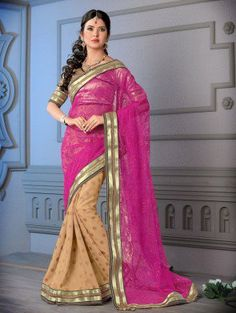Pink and Cream Net Saree with Resham Embroidery Work