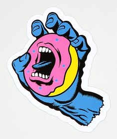 Your two favorite brands, Santa Cruz and Odd Future have teamed up to create the Screaming Donut sticker. This collaborative peel and stick design features a graphic of the Santa Cruz screaming hand holding the Odd Future donut, creating an accessory that Odd Future Wallpapers, Santa Cruz Logo, Odd Future Wolf Gang, Future Album, Future Logo, Skateboard Deck Art, Races Fashion, Fashion Art, Lady Mary