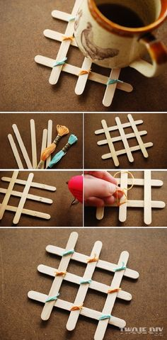 Sticks for ice cream popsicle stick art, diy gifts with popsicle sticks Diy Home Crafts, Crafts To Make, Easy Crafts, Crafts For Kids, Diy Popsicle Stick Crafts, Popsicle Sticks, Popsicle Stick Coasters, Ice Cream Stick Craft, Pop Stick