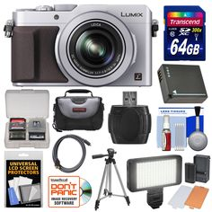 "Panasonic Lumix DMC-LX100 4K Wi-Fi Digital Camera (Silver) with 64GB Card + Case + Video Light & Flash Set + Battery + Tripod + Kit. KIT INCLUDES 12 PRODUCTS -- All BRAND NEW Items with all Manufacturer-supplied Accessories + Full USA Warranties:. [1] Panasonic Lumix DMC-LX100 4K Wi-Fi Digital Camera (Silver) + [2] Transcend 64GB SDXC 300x Card + [3] Spare DMW-BLG10 Battery +. [4] PD 150 LED Video Light Set + [5] PD 50"" Compact Travel Tripod + [6] PD-C15 Camera / Camcorder Case +. [7]…"