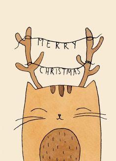Christmas Doodles, Diy Christmas Cards, Christmas Cats, Xmas Cards, Christmas Postcards, Merry Christmas, Watercolor Christmas Cards, Christmas Drawing, Kawaii Drawings