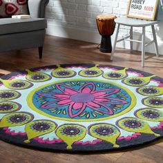 Remix Circle Rugs in Mint