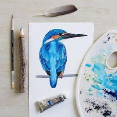 Kingfisher painting | Gouache + water-colour art by PRINTSPIRING