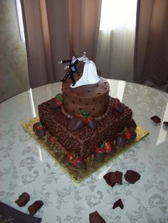 Grooms Cake. 2 tiered. Runaway Groom! Bridal Shower Cakes, Baby Shower Cakes, Chocolate Grooms Cake, Birthday Parties, Birthday Cake, Creative Memories, Cake Pops, Wedding Cakes, Cakepops